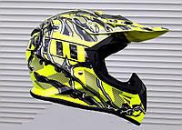 Кроссовый мото шлем Ярко салаотвый размер S, фото 1