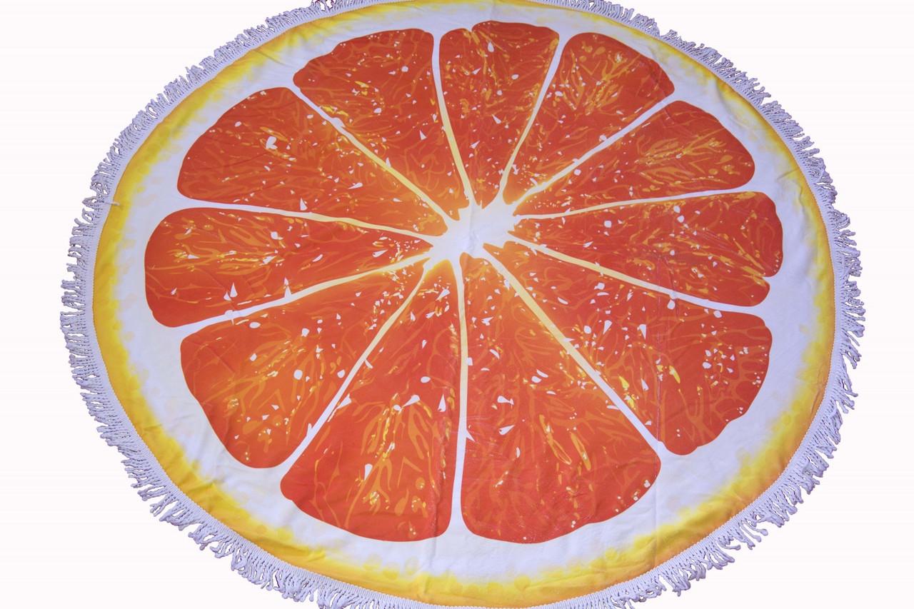 Пляжное круглое полотенце коврик с бахромой 150см микрофибра Апельсин