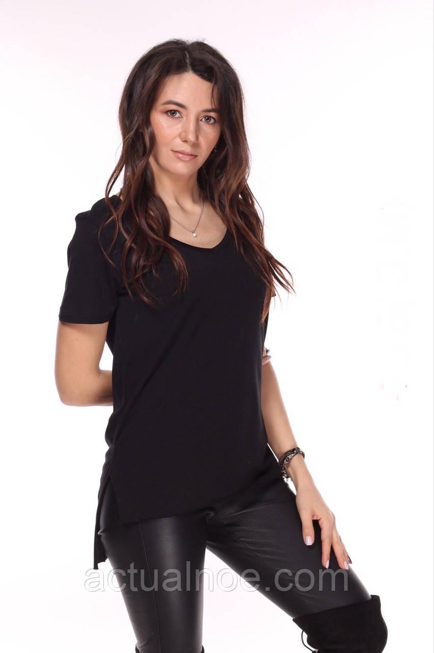 Купить Женская базовая футболка чёрная удлинённая