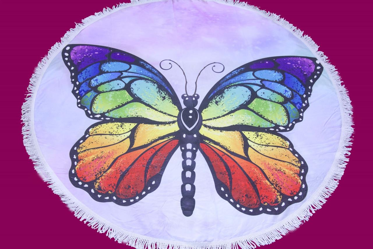 Пляжное круглое полотенце коврик с бахромой 150см микрофибра Большая Бабочка