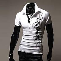 Спортивная мужская элегантная футболка c воротником-поло белый, L