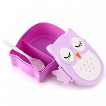 Ланч-бокс Сова Детский пищевой контейнер + ложечка Фиолетовый