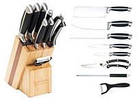 Набор кухонных ножей на деревянной подставке с ножницами, мусатом и овощечисткой Edenberg - 9 пр