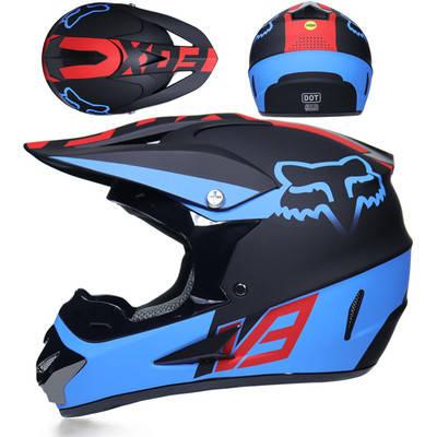 Черно-Синий матовый кроссовый мото шлем  фулфейс Fox  (эндуро, даунхил), фото 2