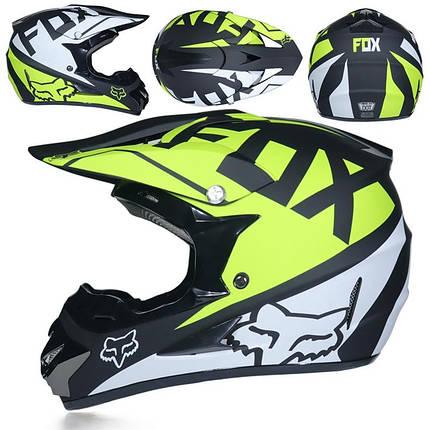 Черно-салатовый кроссовый мото шлем  квадроцикл фулфейс Fox  (эндуро, даунхил), фото 2