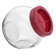 Банка стеклянная Everglass 1730 мл. Sweet New с бордовой пластиковой крышкой для хранения сыпучих продуктов