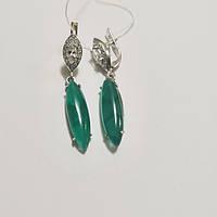 Сережки зі срібла з хризопразом і цирконом Джина, фото 1
