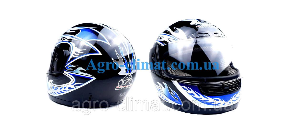 Шолом для мотоцикла hel-met wlt 106 чорний з синім