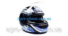 Шолом для мотоцикла hel-met wlt 106 чорний з синім, фото 2