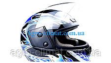 Шолом для мотоцикла hel-met wlt 106 чорний з синім, фото 3