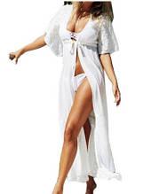Пляжный халат средней длины молочный - S(42р.) бюст 84см, длина 120см, шифон, гипюр
