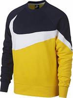 Толстовка Nike Sportswear Swoosh Crewneck желтая AR3088-728