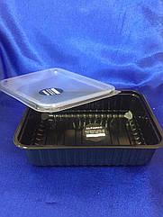 Контейнер пластиковый чёрный для еды  179*132*46мм, 750 мл РР (500шт) с крышкой