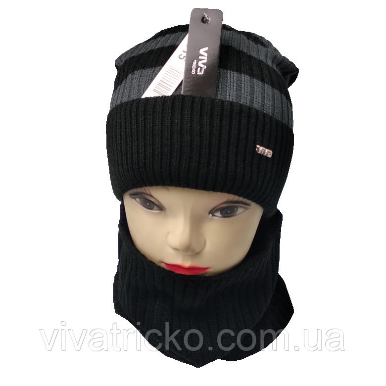 М 94015 Комплект для мальчика  шапка на флисе и снуд, разние цвета