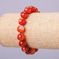 Браслет из натурального камня Сердолик гладкий шарик d-10мм обхват 18см на резинке