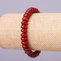 Браслет из натурального камня Турмалин тёмно-красный матовый граненный рондель d-8х5мм обхват 18см на резинке