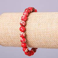 Браслет из натурального камня Варисцит (пресс) красный шарик d-8мм обхват 18см на резинке купить оптом в
