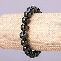 Браслет из натурального камня Агат d-10мм гладкий шарик обхват 18см на резинке