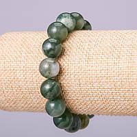 Браслет из натурального камня Моховый Агат шарик d-12мм обхват 18см на резинке