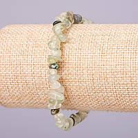 Браслет из натурального камня Пренит d-4-6мм крошка обхват 18см на резинке