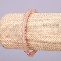 """Браслет из натурального камня """"Розовый кварц"""" имитация кремовый граненный рондель d-6х4мм обхват 18см на резинке"""