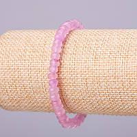 """Браслет из натурального камня """"Розовый кварц"""" имитация сиреневый граненный рондель d-6х4мм обхват 18см на резинке"""