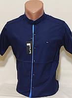 Рубашка мужская vks-0061 Paul Smith синяя приталенная однотонная воротник стойка Турция с коротким рукавом