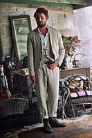 Чоловічий лляної еко костюм , річний. Піджак, брюки з льону. Розмір ХС-10ХХЛ батал плассайз, фото 1