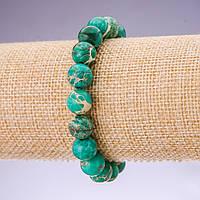 Браслет из натурального камня Варисцит зеленый гладкий шарик d-10мм на резинке обхват 18см купить оптом в