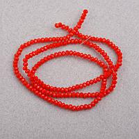 """Бусины """"рондель"""" хрустальные на нитке d-3мм стекло матовый красно ОранжевыйL-41см купить оптом в интернет"""