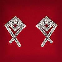 [30x21 мм] Серьги женские белые стразы светлый металл свадебные вечерние гвоздики (пусеты ) воздушный змей средние