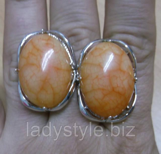 купить серьги кольцо перстень натуральный халцедон подарок девушке