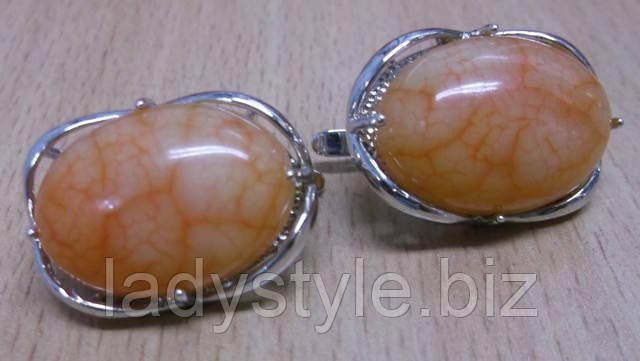 серебряное кольцо серьги халцедон купить украшения подарок