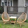 Плетеный набор мебели  2 кресла для отдыха большие и журнальный столик из лозы