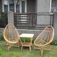 Плетеный набор мебели  2 кресла для отдыха большие и журнальный столик из лозы, фото 1