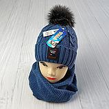 М 94026 Комплект для хлопчика шапка на флісі і хомут, різні кольори, фото 3