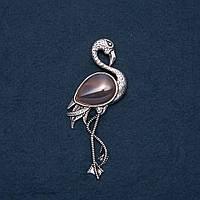 Брошь кулон Фламинго с натуральным камнем Агат 85х30мм купить оптом в интернет магазине