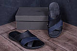 Мужские кожаные  летние шлепанцы-сланцы Е-series Biom  Blue (;), фото 8