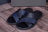 Мужские кожаные  летние шлепанцы-сланцы Е-series Biom  Blue (;), фото 9