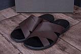 Чоловічі шкіряні літні шльопанці-сланці Е-series Biom Brown (;), фото 9