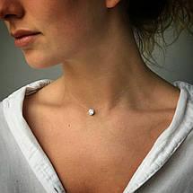 Женский кулон подвеска, камушек фианит в обрамлении из серебра 925 пробы Оникс на ювелирной леске., фото 2
