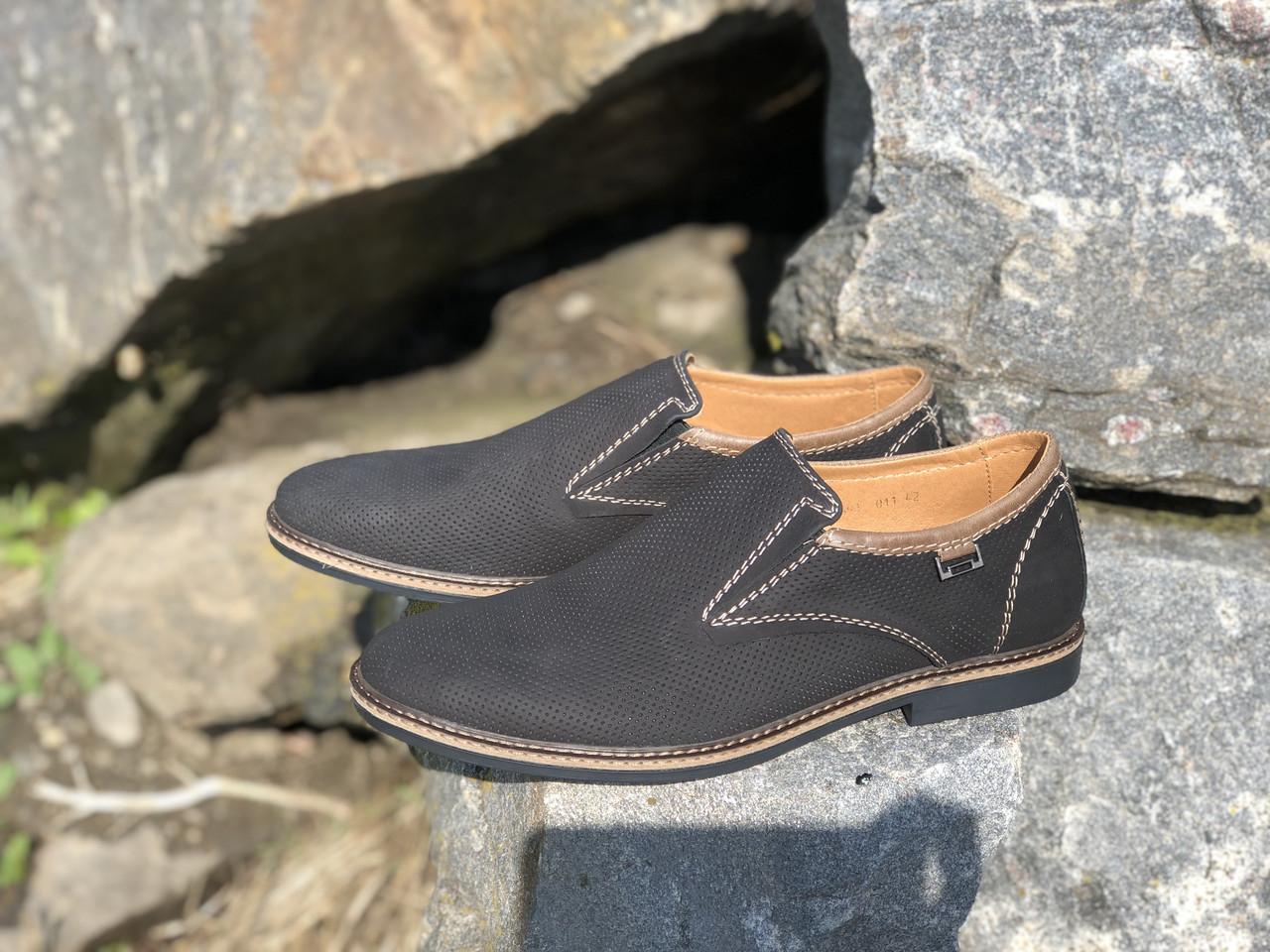 Кожаные мужские туфли 7691 чер размеры 41,42,43