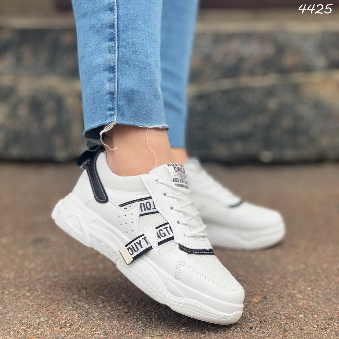 Женские кроссовки цвет белый с черным, экокожа + обувной текстиль