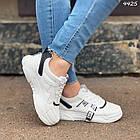 Женские кроссовки цвет белый с черным, экокожа + обувной текстиль, фото 2