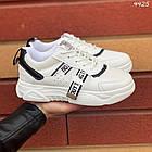 Женские кроссовки цвет белый с черным, экокожа + обувной текстиль, фото 3