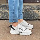 Женские кроссовки цвет белый с черным, экокожа + обувной текстиль, фото 4