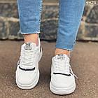 Женские кроссовки цвет белый с черным, экокожа + обувной текстиль, фото 5