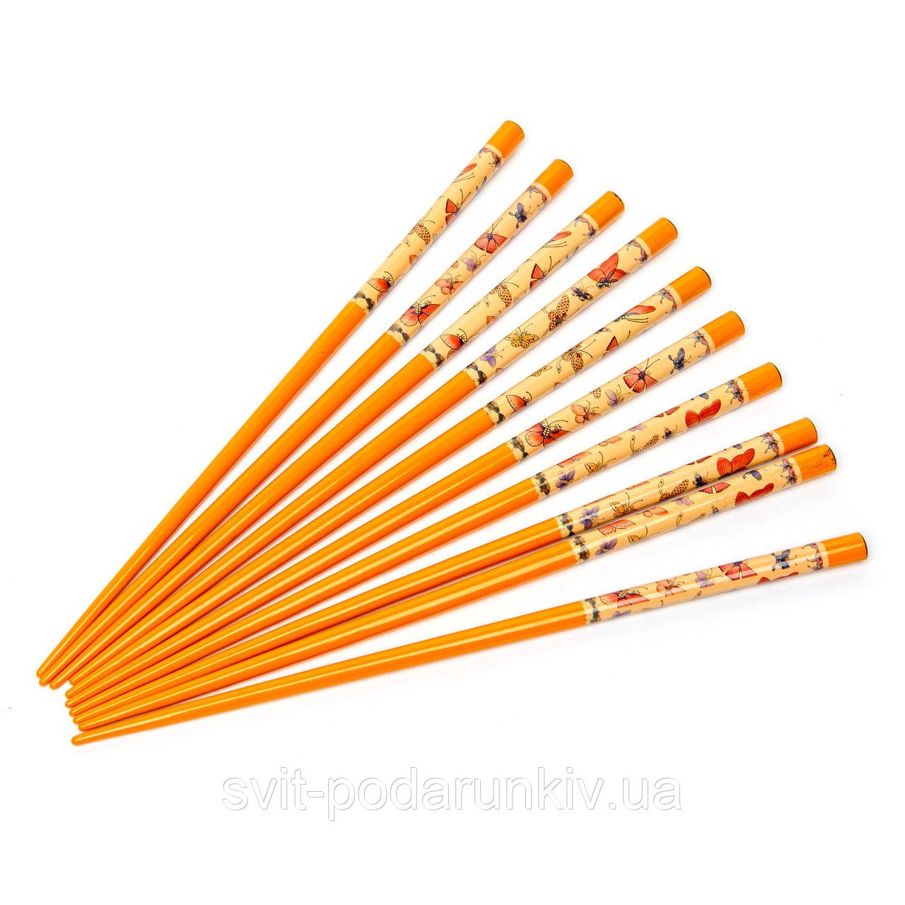 Палочки для суши желтые с бабочками 5 пар 02