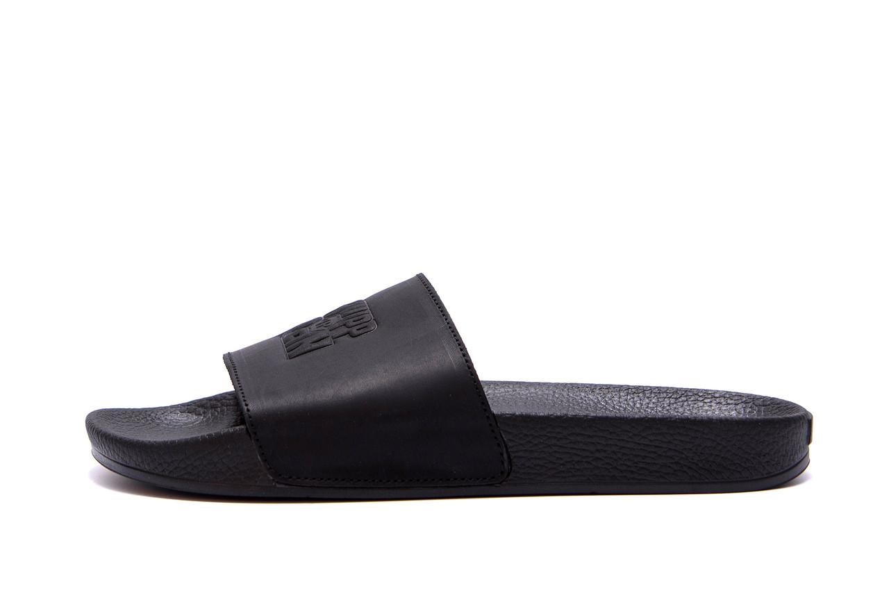 Мужские кожаные  летние шлепанцы Philipp Plein New Line  Black .
