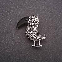 Брошь Птица цвет металла серый 39х36мм